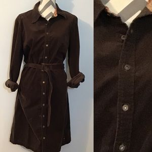 Vintage Tommy Hilfiger Brown Corduroy Shirt Dress